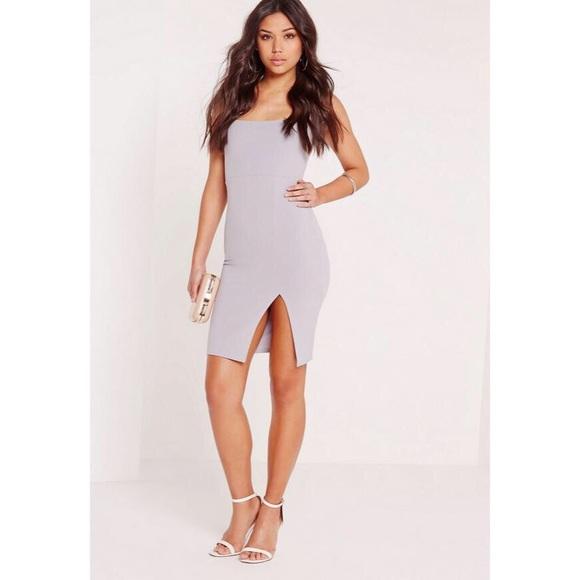 b333fe1ea Missguided Dresses | Miss Guided Square Neck Side Slit Dress | Poshmark